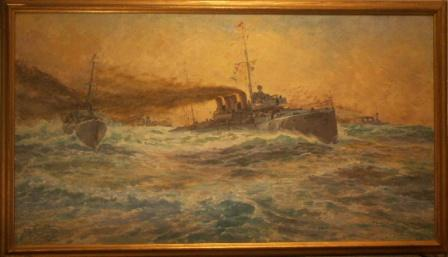 Battle ship manouver in open waters.  20th Century oil on canvas.