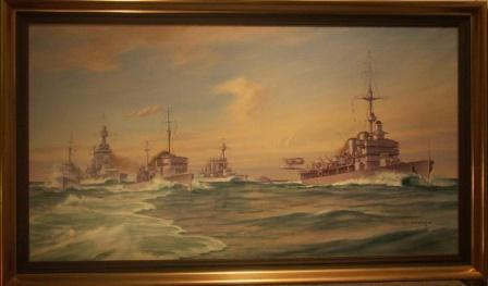Battle ship manouver with Swedens only aircraft-carrier Gotland. 20th Century oil on canvas.