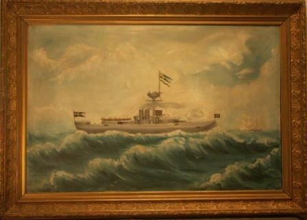 Swedish battle ship firing one of her cannons.  20th Century oil on canvas.