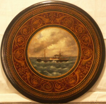 Swedish steam-freighter off the coast.  20th Century oil on wooden panel (table top).