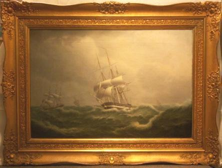 Danish, Russian and German frigates in rough sea.  19th Century oil on canvas.