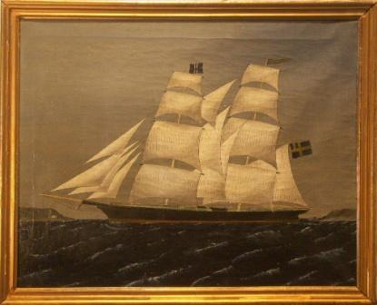 Ship portrait depicting the brig Charlotte. 19th Century oil on canvas.