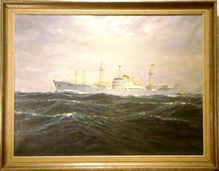 Ship portrait depicting the Swedish cargo vessel Silken. 20th Century oil on canvas.