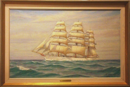 Ship portrait depicting the Swedish sail training vessel G.D. Kennedy in full sail. 20th Century oil on canvas.