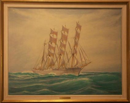 Ship portrait depicting the Swedish sail training vessel Abraham Rydberg 3. 20th Century oil on canvas.