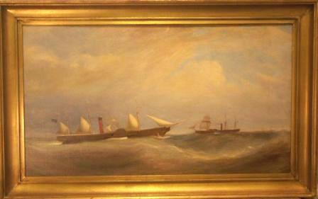 Paddle steamers in heavy sea. 19th Century oil on canvas mounted on board.