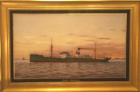 Ship portrait depicting the German freighter Deike Rickmers. 20th Century Glass Painting.