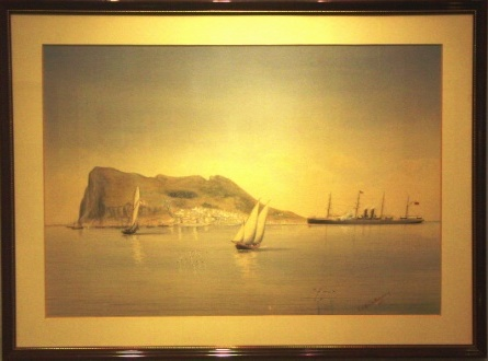 Gibraltar with British mail-steamer and sailing boats. 19th Century Watercolour.
