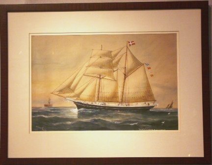 The Danish vessel Jorgen Larsen af Thurø. 20th Century Ship Portrait, Watercolour/gouache.