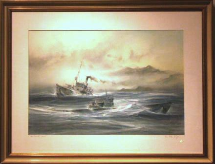 German gun-boat and submarine operating in the North Atlantic. 20th Century Watercolour/gouache.