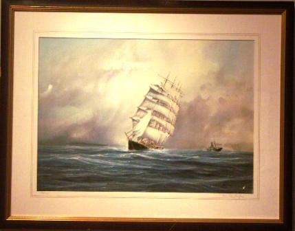 The four-masted barque POTOSI and a German freighter in heavy waters off the coast.  20th Century Watercolour/gouache.