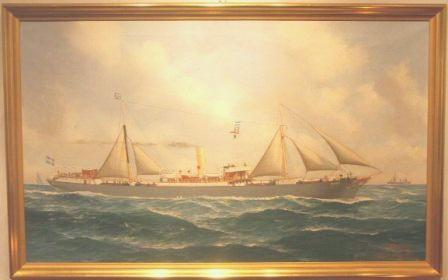 The Swedish steam freighter Banco. 20th Century Ship Portrait, oil on canvas.