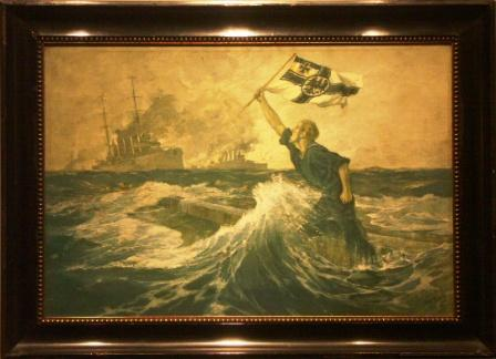 Battle ships approaching German seamen in distress during WWI.  20th Century oil on canvas.