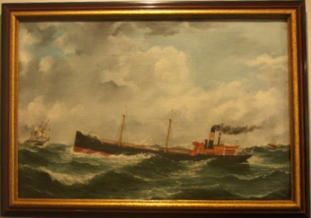Swedish steam freighter Sune of Halmstad. 20th Century oil on canvas.