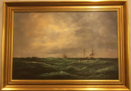 British paddle steamer and steam frigate in open waters. 19th Century oil on canvas.