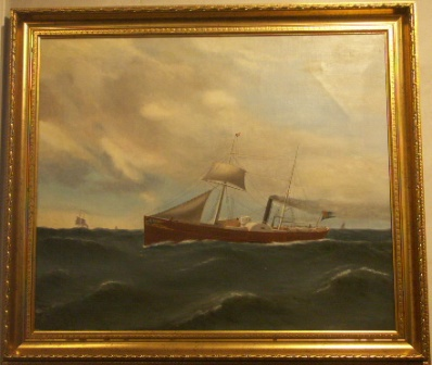 The Swedish mail paddle steamer Svea. 19th Century Ship Portrait, oil on canvas.