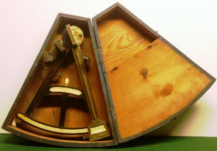 Early 19th century octant in original wooden case. Made by Spencer-Browning & Co., London, ebony frame and peep-hole eyepiece, scales and maker`s plaque in ivory, turned pencil and note plaque also made in ivory.