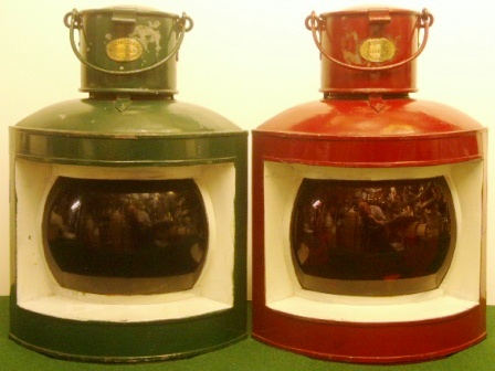A pair of early 20th century navigation lamps made by J.C. Larsén & Co.