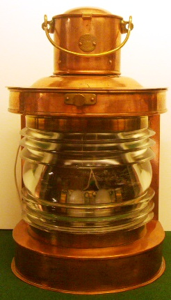 Electrified 20th century copper masthead light supplied by Hasses, Gothenburg and marked with three crowns, Kk 601814.