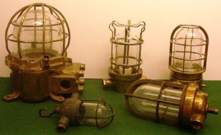 20th century electric engine room and bulkhead lights made in solid brass.