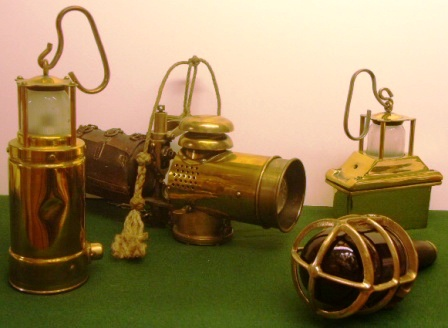 20th century morse, signal and emergency lights made of solid brass.
