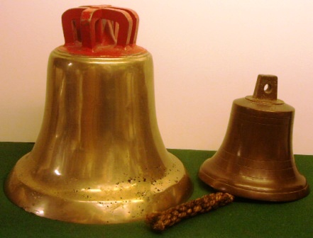 19th and 20th century ships`bells made in solid bronze and brass.