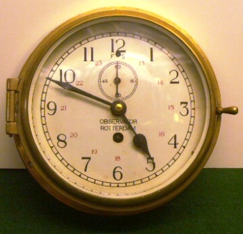 20th century Dutch Observator, Rotterdam ships`clock made in brass.