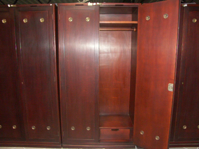 Wardrobes with double doors from M/S Hohenfels Hansa Bremen, shipping company Norddeutscher Lloyd (NDL). Including drawer, compartment, shelf and bar.