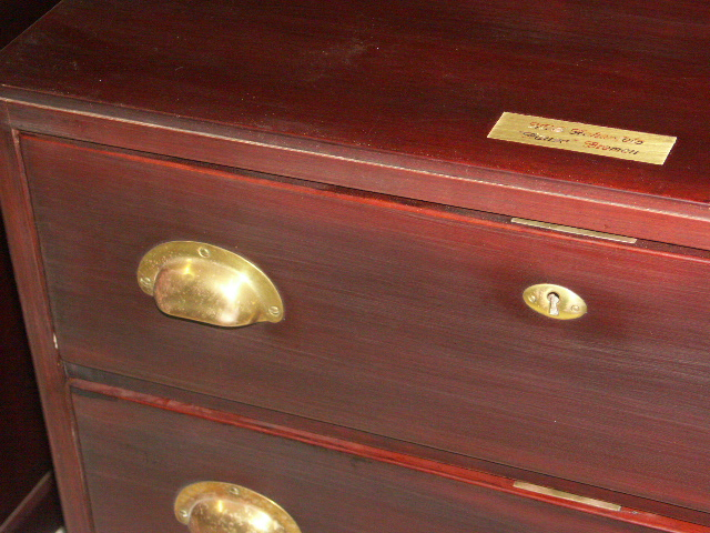 Chest of three drawers in mahogany and brass from M/S Hohenfels Hansa Bremen, Norddeutscher Lloyd (NDL).