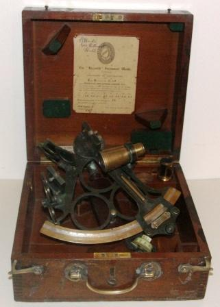 1938 brass sextant made by Heath & Co in New Eltham, London for John Lilley & Son Ltd in North Shields. No D258 (The Hezzanith Instrument Works). Last corrected in 1953 by B. Cooke & Son, Hull. Two telescopes and seven sun-filters. In original wooden case.