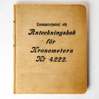 Logbook for Victor Kullberg two-day marine chronometer No 4222 between the years 1920-40.