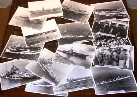 Large selection of British, French, Japanese & US photographs depicting WWII warships and crewmembers.