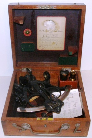 Early 20th century sextant in original mahogany case. Made by Heath & Co, Eltham London SE9. Sold by Johan Gulbransen Oslo. Circle frame, silver scale, magnifying glass, two telescopes and sun-filter. Examined 1946 by the Hezzanith Instrument Works London. Last corrected 1952 by Kon. Ned. Meteorologisch Instituut Amsterdam.