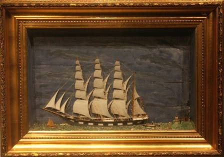 Late 19th century sailor-made diorama depicting the Swedish four-masted barque ADA together with pilot and tug boats.