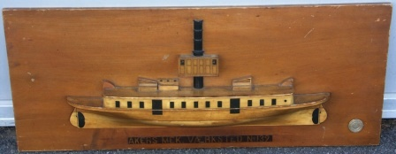Early 20th century original wooden shipyard half-hull model depicting the D/S DAVID ANDERSEN of Kristiania
