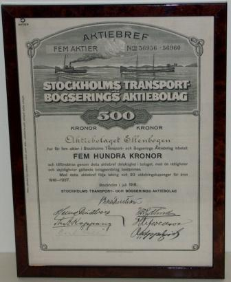 Swedish shipping company STOCKHOLMS TRANSPORT OCH BOGSERINGS AKTIEBOLAG share certificate, dated Stockholm July 1918.