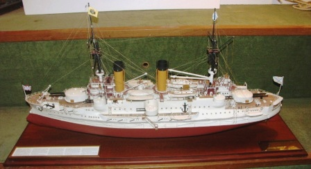 "Mid 20th century built model depicting the Russian battle ship ""IMPERATOR ALEXANDR III"". Built 1899 for the Russian Imperial Navy by Baltic Works, St. Petersburg . Launched on August 3rd 1901. Mounted in a glass case."