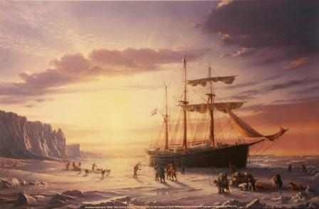 Depicting Amundsen returning to FRAM after reaching the South Pole (December 14/1911 - January 27/1912)