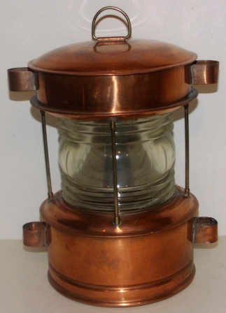 Early 20th century electrified copper anchor light. Marked K60149JK 20-2-61. Manufacturer unknown.