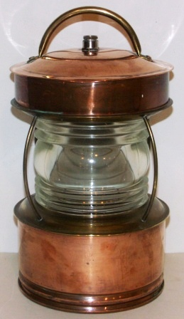 Early 20th century electrified copper anchor light. Manufacturer unknown.