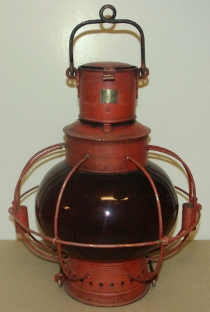 Early 20th century anchor light, made by Karlskrona Lampfabrik, Sweden. Complete with kerosene burner.