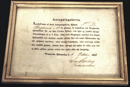 19th centurEmbarkation certificate for 24 year old able seaman J. D. Berglund, dated October 6th 1848