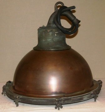 Early 20th century electrified deck light made of copper and brass.