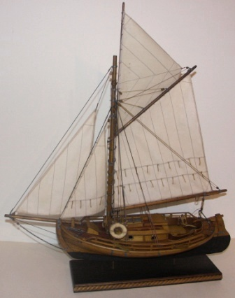 20th century clinker-built and gaff sail-rigged open coaster type model.