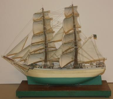 Early 20th century built model depicting the Swedish Brig AMAZONE built 1876. Mounted on wooden base.