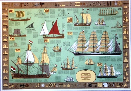 Nautical educational chart. Incl English vocabulary and description of all types of sailing vessels, nautical instruments and knot- & rope-work.