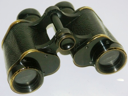 "Early 20th century Carl Zeiss/Jena ""Marineglas"" binocular. Made of black laquered brass, leather-bound."