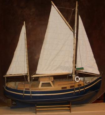 20th century built wooden model depicting the Swedish motorsailer GETE. Battery driven engine missing.