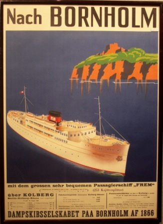 "The Danish passenger ferry HAMMERSHUS off the island Bornholm. With timetable dated 1938 and pricelist in German ""Reichsmark""."