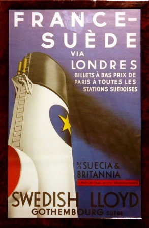 France- Suède via Londres with S/S SUECIA & BRITANNIA of the shipping company Swedish Lloyd.